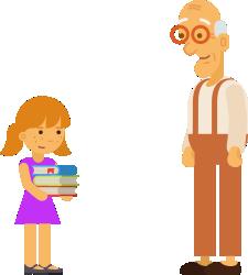 изображение к задаче про дедушку, внучку и книги