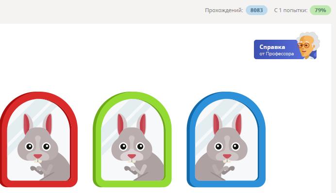 статистика по задаче на выбор правильного отражения зайца в зеркале