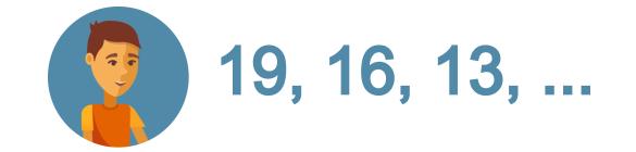 19, 16, 13, .
