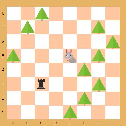шахматы, ладья, заяц, елки