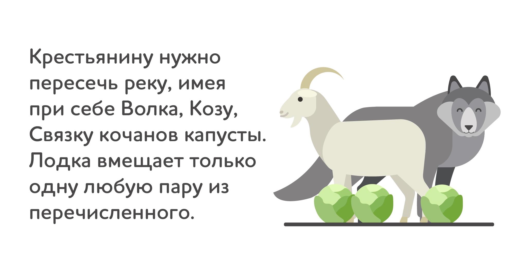коза, волк и капуста — иллюстрация с условиями задачи о переправе