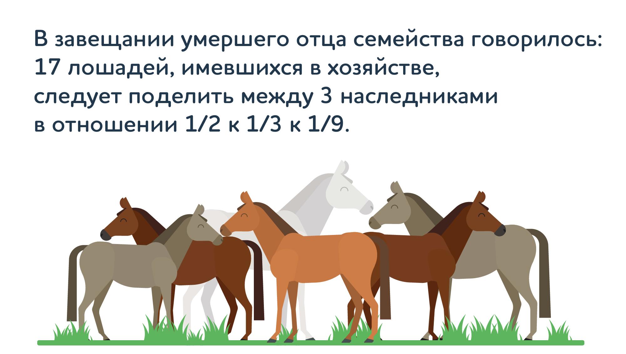 лошади на лугу — схематическая иллюстрация к задаче Тартальи Трудное наследство