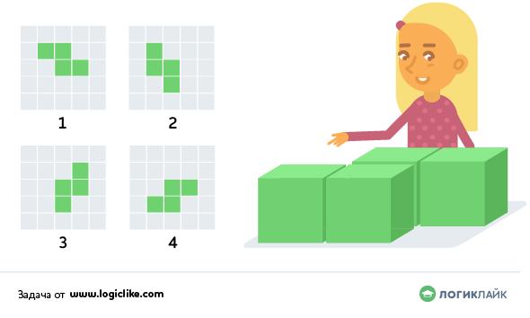 девочка смотрит на кубики