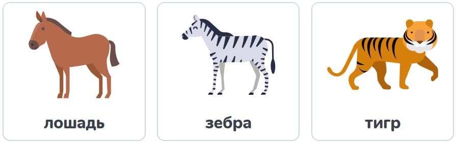 лошадь, зебра, тигр